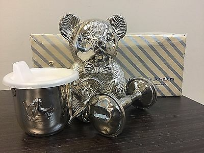 Garbino Silver Plated Baby Cup, Rattle, Bear Coin Bank Set