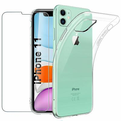 """For Apple iPhone 11 (6.1"""") Case Clear Slim Gel Cover & Glass Screen Protector"""