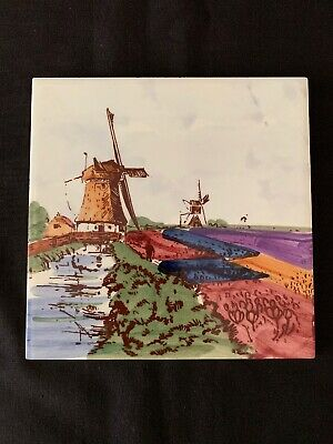 Hand Painted WINDMILLS - DELFT Tile - Holland (222) - Excellent condition