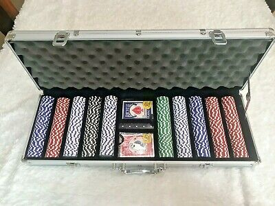 NEW 500 Piece Texas Hold 'em Clay Poker set w/Aluminum Case. (Cards,Dice,Chips)