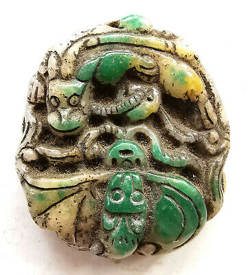 Superb Antique Chinese Green & White Jadeite Jade Dragon Carved Necklace Pendant