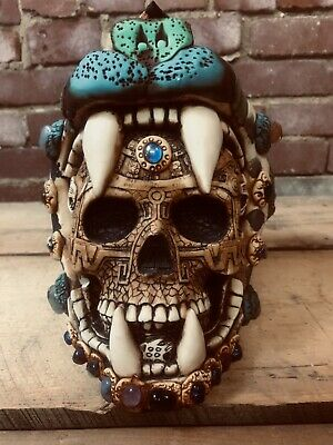 Handmade Mexican Sugar Skull Gems Leather Panther Arrowhead Day of the Dead Wow!