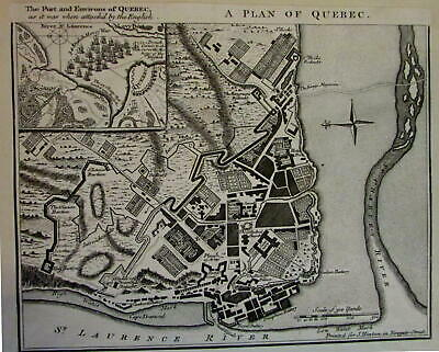 Quebec Canada English Battle of Seven Year's War 1759 detailed city plan map