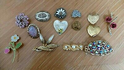 Vintage Costume Jewellery Brooch Collection Mixed Metals 14 Pieces Job Lot Box D