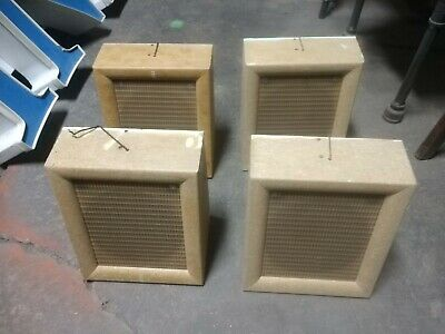 """4 Reclaimed Vintage Dukane Wall Mount  Cabinet Speakers  9 3/4"""" x 12"""". As found."""