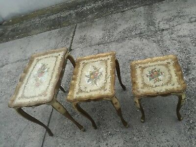 3 Coffee Tables a Nest Golden Lacquered Style Venetian First '900 Small