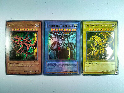 3x Yugioh GBI-001 002 003 God Cards Lot Slifer Obelisk Ra Gameboy Promo Fakes HP