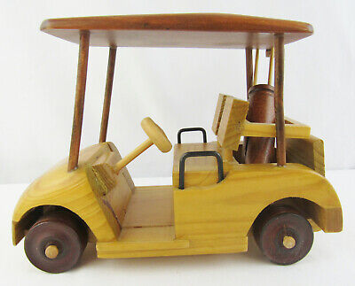Carved Wood Golf Cart with Golf Bags and Clubs - Multi Colored Wood