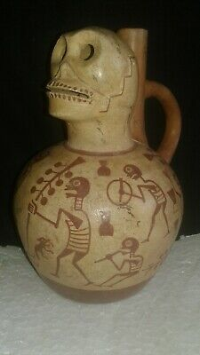 Moche ,  skull head fine line Stirrup Bottle, Precolumbian, Mochica