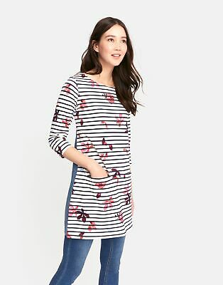 Joules Jade Jersey Woven Mix Tunic 16 in French Navy Chesnut Leaves Stripe