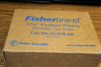 Fisher Brand 5 3/4 Pasteur Pipets Flint Glass / Non-Sterile #13-678-6A