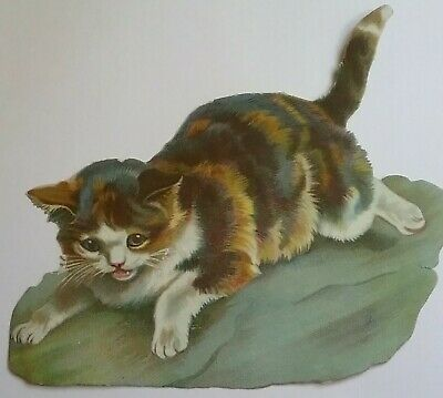 Large Antique Chromo Victorian Scrap of a Lovely Tabby Cat.  Approx.23x15cms.