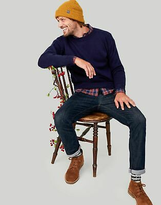 Joules Mens Welbrook Traditional Guernsey Knit Jumper in MARINE NAVY Size L