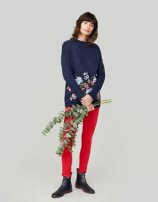 Joules Womens Penny Jumper With Embroidery Detail in FRENCH NAVY Size 12