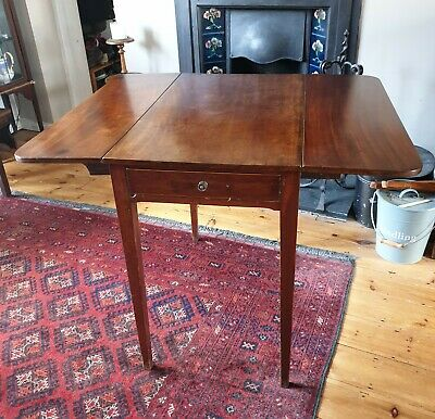Antique Georgian / Victorian Mahogany Pembroke Drop Leaf Hall Side Dining Table