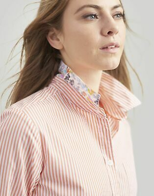 Joules Womens Lucie Printed Stripe Woven Shirt in WHITE ORANGE STRIPE Size 16