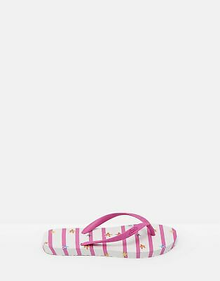 Joules 204696 Printed Flip Flops in PINK STAR STRIPE Size Childrens 8