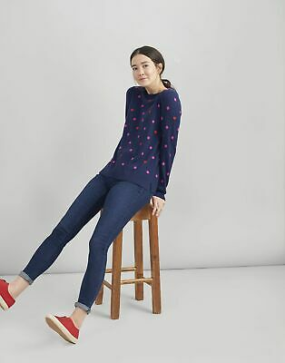 Joules Womens Esha Embroidered Crew Block Jumper in SPOT HEART Size 12