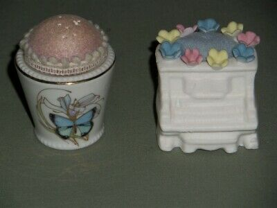 2 Vintage Pin Cushions 1-Butterfly & 1-Piano Pastel Flowers Sewing Collectible