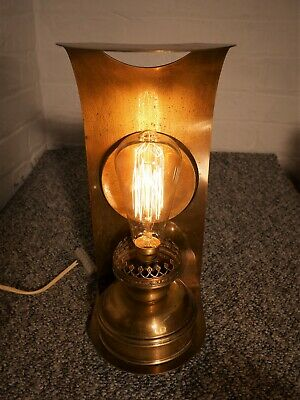 Rare Antique Brass Wall Mounted Oil Lamp Converted to Unique Electric Wall Light