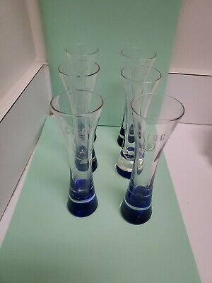 Ciroc Tall Shot Glasses Set of 6 Blue Bottomed Shooters
