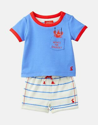 Joules 204679 Short Sleeve Top And Shorts Set in CREAM MULTI STRIPE Size 3min6m