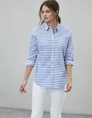 Joules Womens Lucie Printed Woven Shirt in WHITE LOBSTER STRIPE Size 10