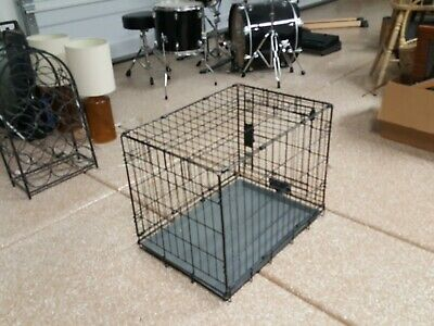 "DOG CRATE 24x17x20"" Medium Pet Kennel Cage Folding Portable Travel Metal"