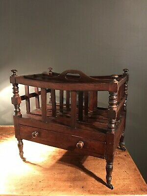 Antique Regency Early 19th Century Mahogany Canterbury Magazine Rack-newspaper