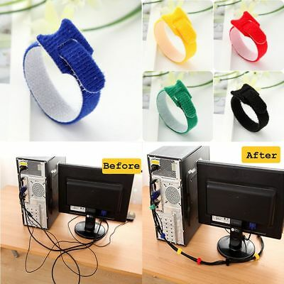 Desk Tidy Organizer Wire Cord Lead Drop Clips USB Cable Charger Holder Fixer
