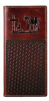 Men's Real Leather Praying Cross Checkbook Style Bifold Wallet Long Casual Tall