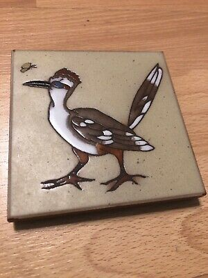 Cleo Teissedre Hand Painted Roadrunner Butterfly Tile Coaster Trivet Decor B1