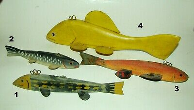 Antique Original Wood Tin Weighted Fishing Lure Fish Decoy Hand Painted Folk Art
