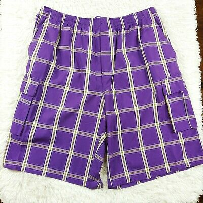 Shaka Wear Men's Checkered Relaxed Fit Plaid Cargo Shorts Loose Fitting Sz 4XL