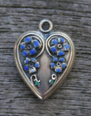 VINTAGE STERLING SILVER PUFFY HEART CHARM -Two Vertical Rows of Flowers & Enamel