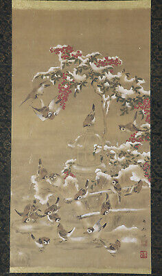 """JAPANESE HANGING SCROLL ART Painting """"Sparrows"""" Asian antique  #E8743"""