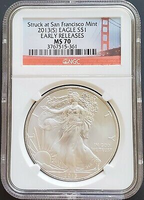 2013 S American 1 oz Silver Eagle NGC MS70 Early Releases San Francisco Mint