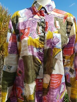 Vintage 90s Ladies Button Up Long Sleeve Abstract Print Mom Shirt