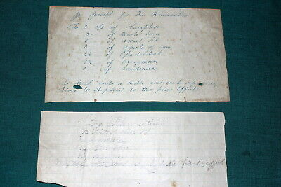 #7191,TWO 1800's Handwritten Home Remedies For Rheumatism