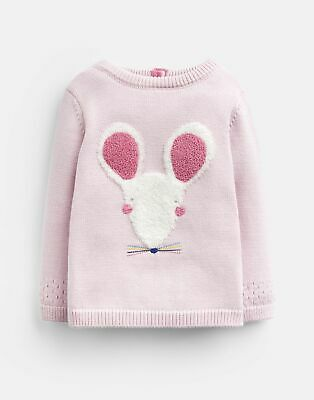 Joules Baby Ivy Intarsia Knitted Jumper - PINK MOUSE