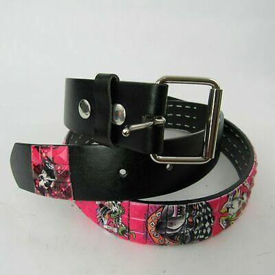 Genuine Quality Italian Design Waist Belt Studded Tiger Skull Pink S M L XL New