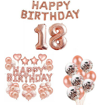 18th Party Rose Gold Happy Birthday Bunting Banner Balloons Decoration UK