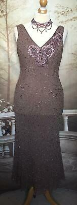 Frank Usher Long Dress/Ballgown Size 16 Beads/Sequins 1920s Gatsby Vintage Style