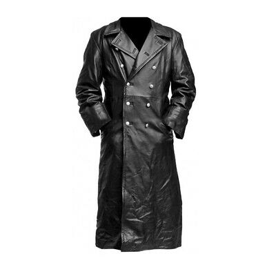 Mens German Classic Officer Coat Ww2 Military Black Leather Long Trench Coat