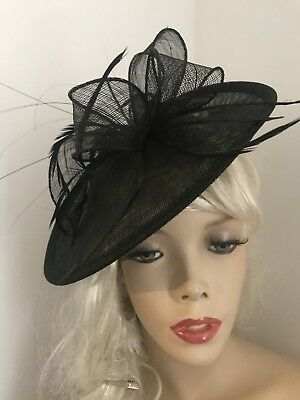 Black Round Hatinator Wedding Fascinator Saucer Hat Formal Feathers Races Disc
