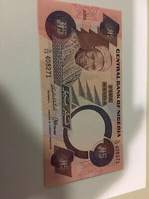CENTRAL BANK of NIGERIA 5 NAIRA BANK NOTE EXCELLENT Circulated  CONDITION 2005