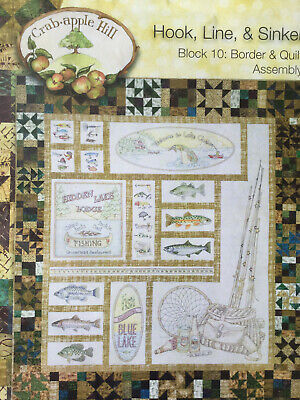 Crab Apple Hill Hook Line and Sinker Stitchery quilt pattern set