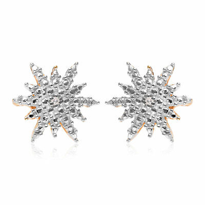 925 Sterling Silver Yellow Gold Plated Diamond Bridal Stud Solitaire Earrings