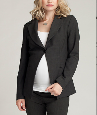 NWT Ingrid & Isabel Charcoal Single-Button Wool-Blend Maternity Blazer 4-8