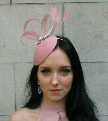 Dusky Blush Pink Silver Feather Hat Fascinator Races Wedding Ladies Day 7498